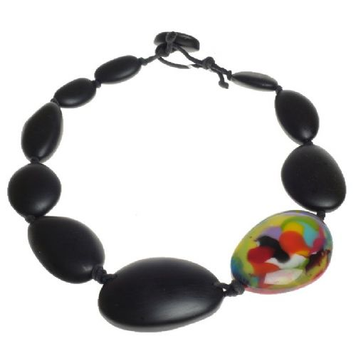 Jackie Brazil short flat riverstone necklace in Black Matte with Kandinsky Stone